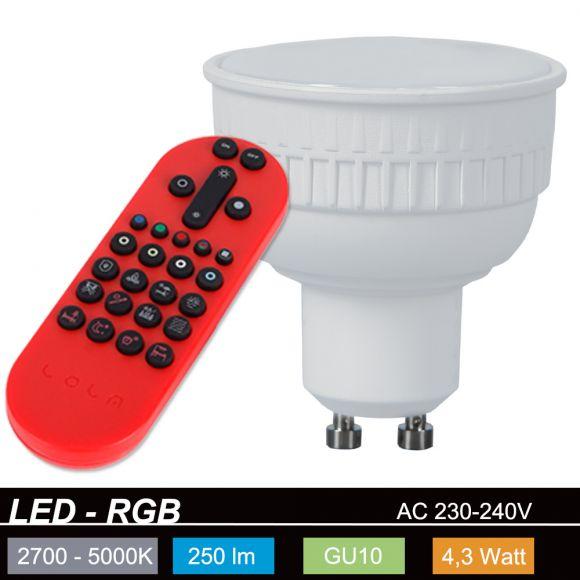 RGB Lola Bulb 4,3Watt GU10 LED Farb - CCT Wechsel, inkl. Fernbedienung