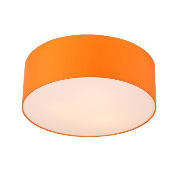 Runde Deckenleuchte, Schirm aus Chintz-Stoff, Orange Ø 52 cm