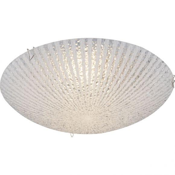 runde LED Deckenleuchte aus Glas opal Deckenlampe geeist ø 25 cm