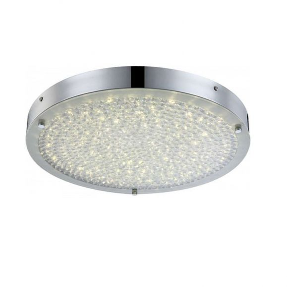 LHG Runde LED Deckenleuchte - Chrom - Kristall -  Ø 40cm, 1x 20Watt, 2330lm