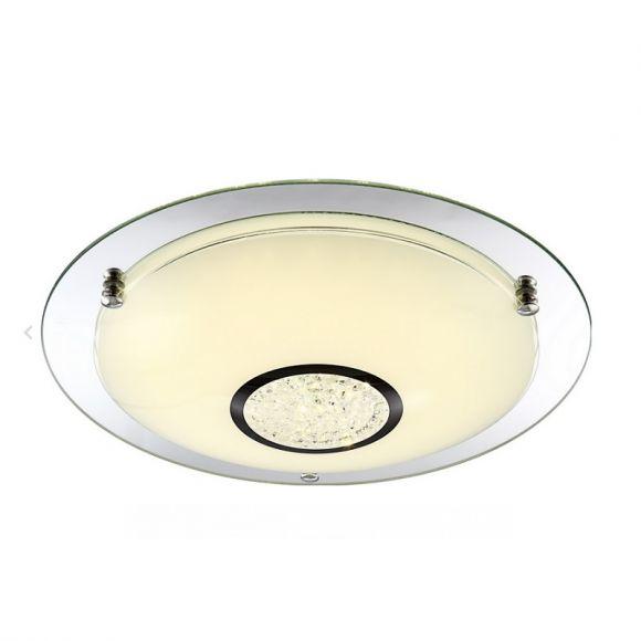 Runde LED Deckenleuchte - Opalglas-Spiegelglas-Kristall - Ø 41,5cm, 12Watt,  800lm - inklusive  LED Taschenlampe