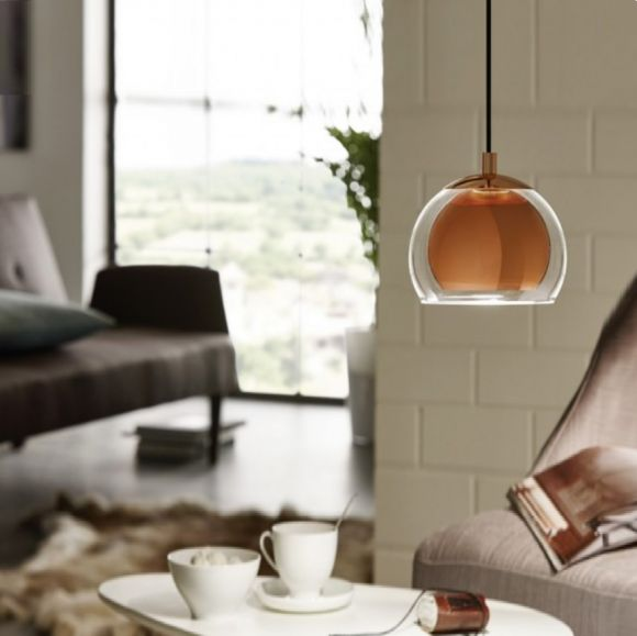 Runde Pendelleuchte in Kupfer oder Chrom glänzend - Ø 19cm - mit Klarglas