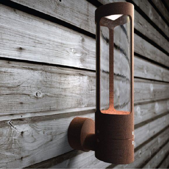 runde Wandleuchte aus Cortenstahl und klar Parallelschaltung Möglich Außenwandlampe rost/rostbraun ø 8 cm IP44