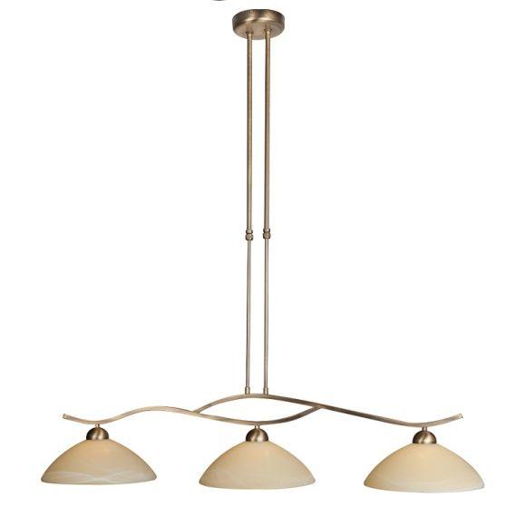 Rustikale Pendelleuchte 3-flammig - Alabasterglas creme - Bronzefarben