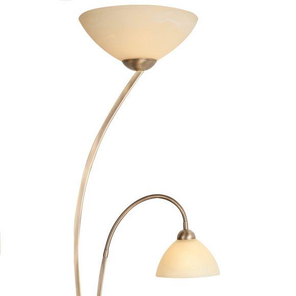 Rustikale Stehleuchte 2-flammig - Alabasterglas creme - Bronze