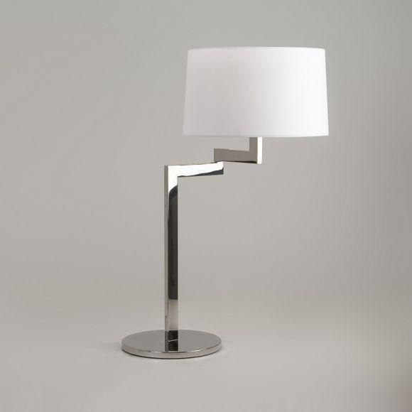 Schicke Tischleuchte in Chrom mit Stoffschirm in Weiß - Höhe 63cm - inklusive Leuchtmittel 1x E27 60W