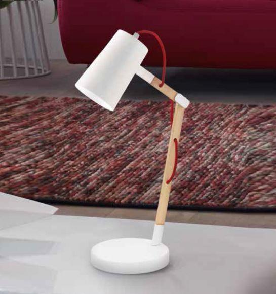 Schreibtischleuchte schwenkbar, Holz mit Schirm weiß oder schwarz