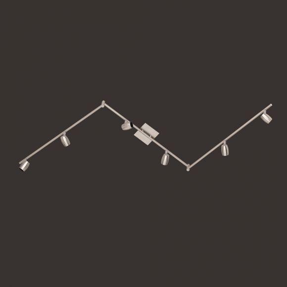 Schwenkbarer 6-flg. Deckenstrahler in Nickel-matt