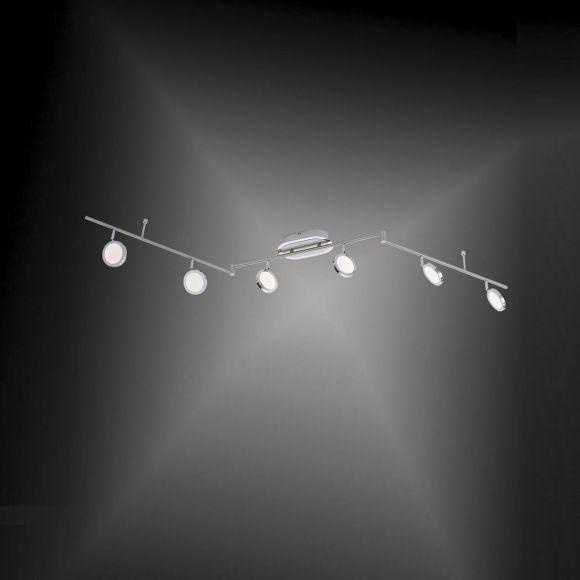 Schwenkbarer LED-Deckenbalken Stahl/Chrom, 6x 4,6Watt LED