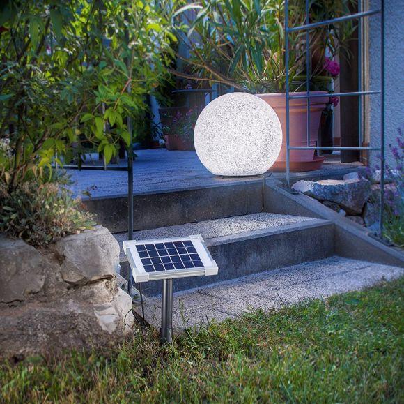 Solar LED Leuchtkugel Ø40cm im Steindesign