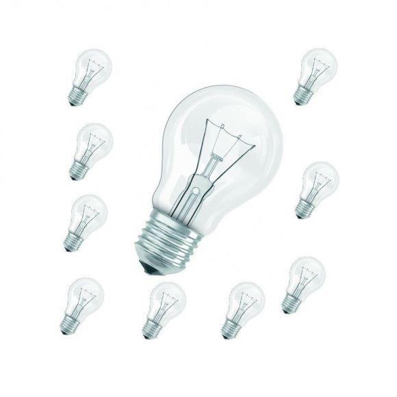 Standardglühlampe, normal Glühbirne E27 klar, 60W 10er Pack