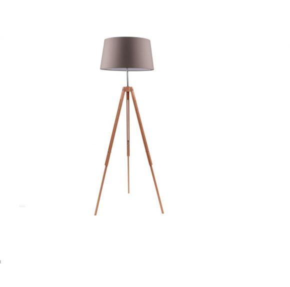 Stativlampe Dreibein Tripod Ø 50cm, Holz Buche natur, Textil Schirm
