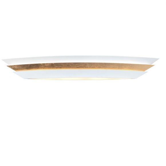 Stattliche Deckenleuchte - ovaler Schirm in Weiß/ Gold, 4-flammig