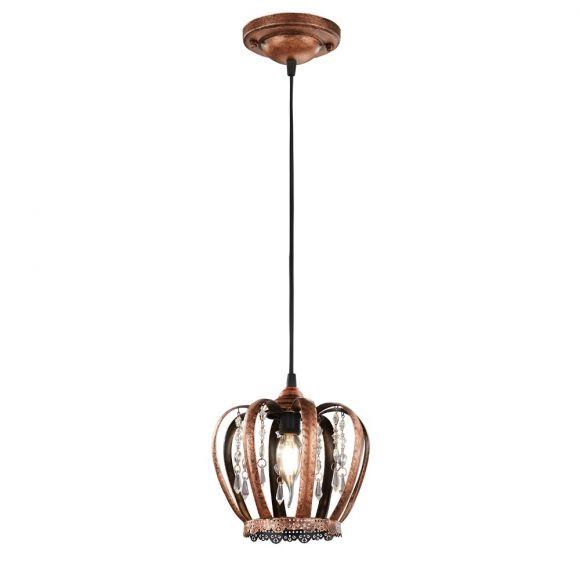 Stilvolle Pendelleuchte - Krone aus Metall mit Acrylglasbehang - für E14 Leuchtmittel - in drei Farben wählbar