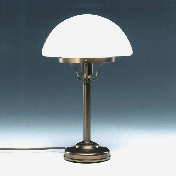 Stilvolle Tischleuchte mit Glasschirm in Pilzform - Altmessing