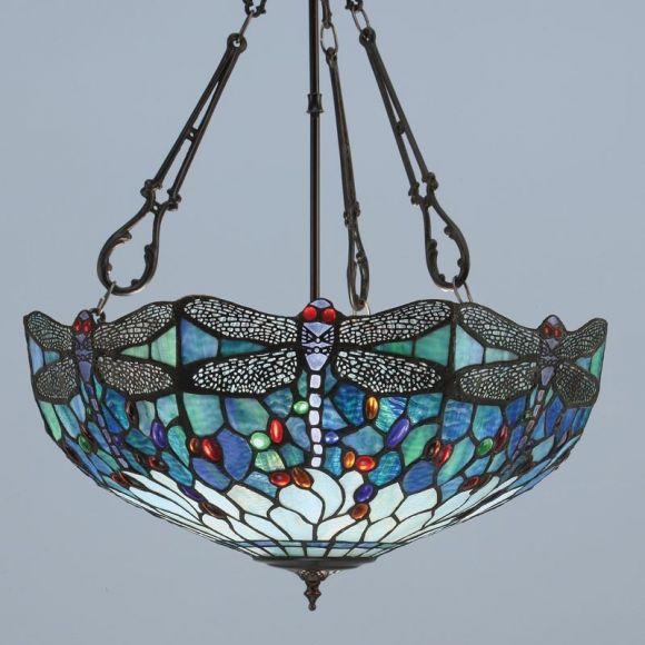 Tiffany Inverted Pendelleuchte Blue Dragonfly - 2 Größen