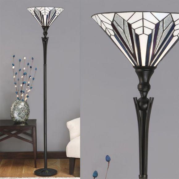 Tiffany-Deckenfluter in Schwarz - Tiffanyglas modern