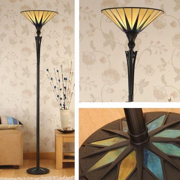 Tiffany-Deckenfluter, dunkelbraun, Tiffanyglas konisch