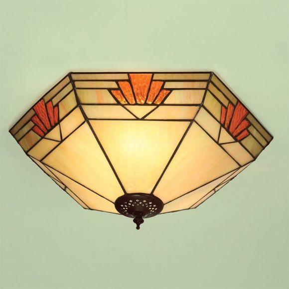 Tiffany-Deckenleuchte - Dunkelbraun / warme Farben
