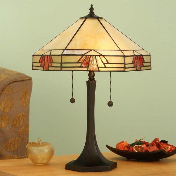 Tiffany-Tischleuchte - Dunkelbraun -  Tiffanyglas in warmen Farben -   Für Leuchtmittel 2x E27 60 Watt