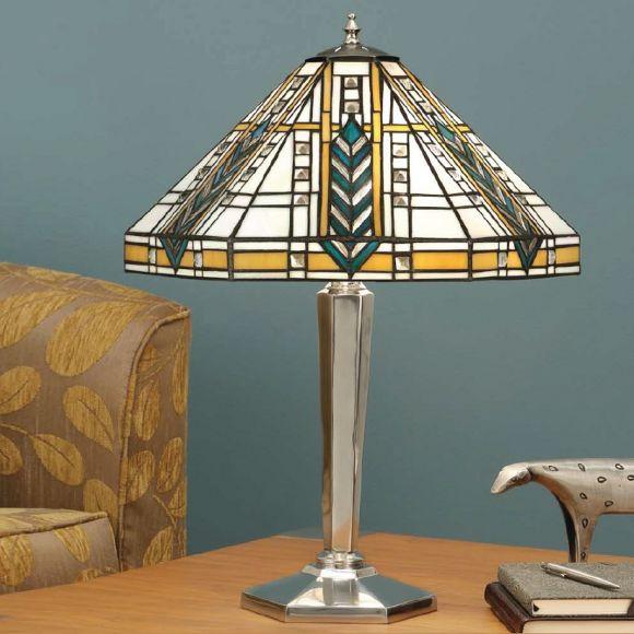 Tiffany-Tischleuchte - Höhe  55 cm - Fuß in Aluminium oder Messing