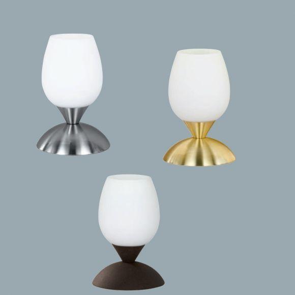 Tischlampe aus Glas mit Touchdimmer in verschiedenen Färbungen