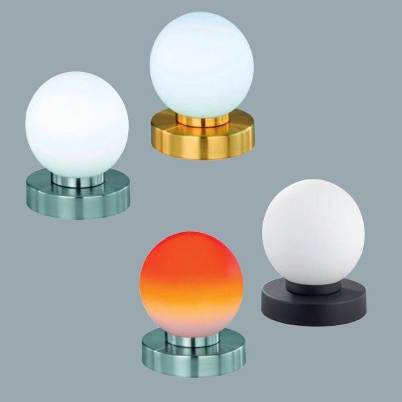 Tischlampe aus rundem Glas mit Touchdimmer