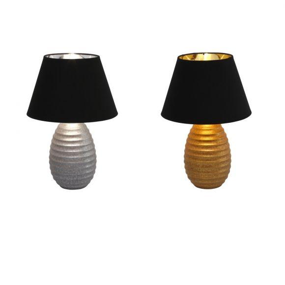 Tischleuchte Cordoba mit Keramikfuß in Silber oder Gold