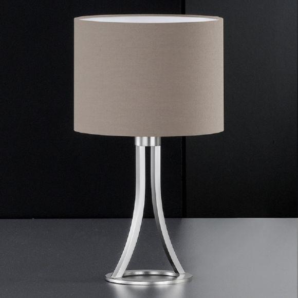 Tischleuchte Höhe 42cm, Schirm textile Beschichtung in Cappuccino - Metall Nickel matt - inklusive 1x E27 40W