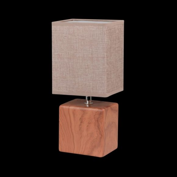 Tischleuchte Keramik in Holzoptik, Fassung E14 für LED Leuchtmittel, Stoff- Textilschirm beige