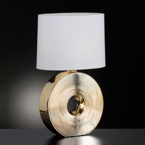 Tischleuchteaus Keramik, Fuß rund, 53cm hoch, E27 Fassung für wechselbare LED, Textilschirm Stoffschirm weiß