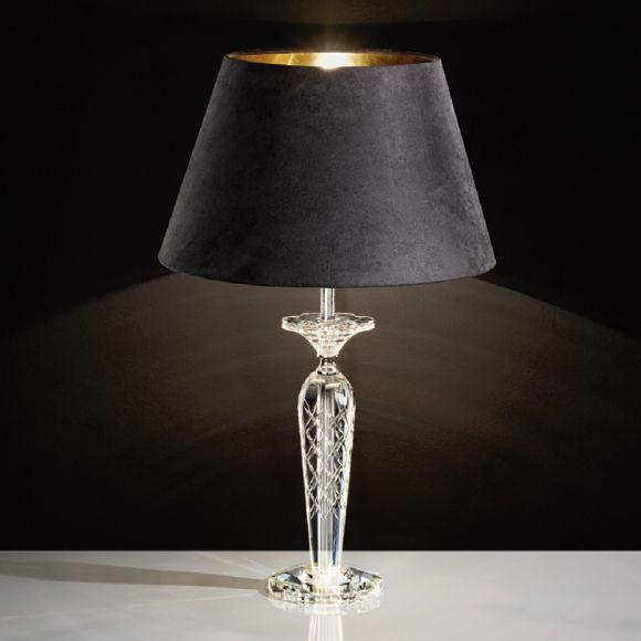 Tischleuchte Kristallfuß, Schirm in Schwarz / Gold in 2 Größen