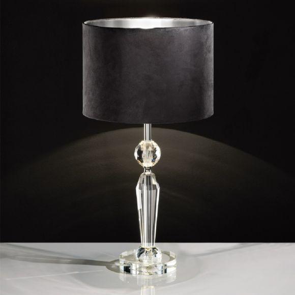 Tischleuchte Kristallfuß, Schirm in Schwarz / Silber