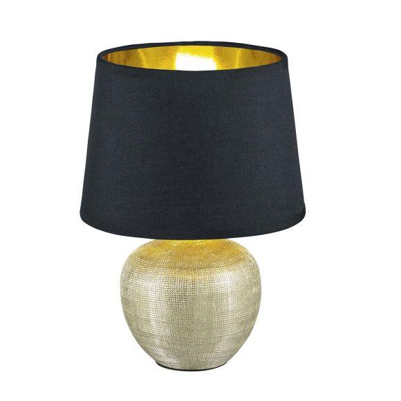 Tischleuchte Luxor Vase Gold, Schirm Schwarz, H 26cm