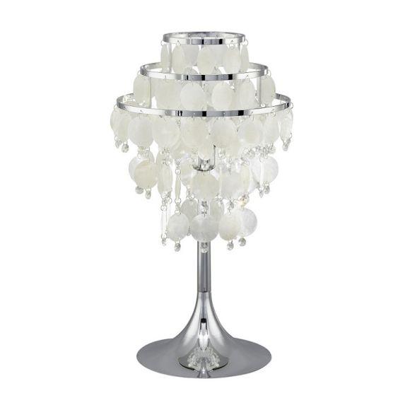 Tischleuchte mit einer Kombination aus hochwertigem Perlmutt und Kristalldekor