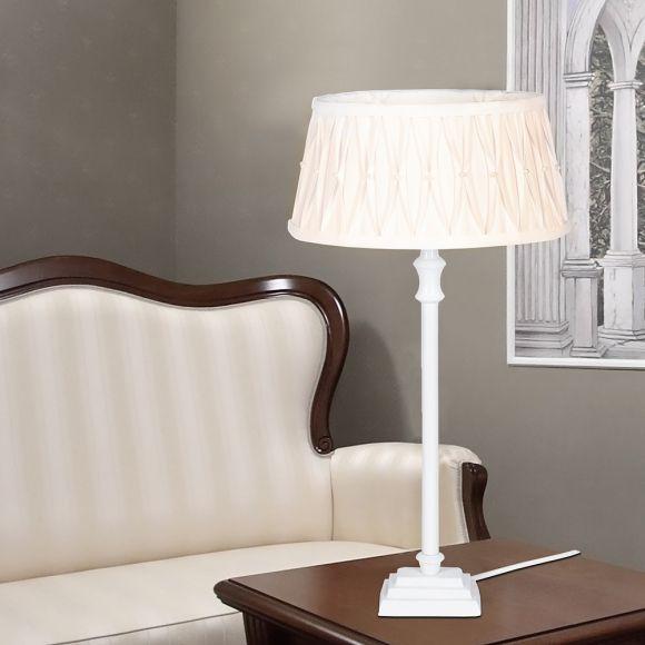 tischleuchte mit ovalem stoffschirm und perlenschmuck wohnlicht. Black Bedroom Furniture Sets. Home Design Ideas