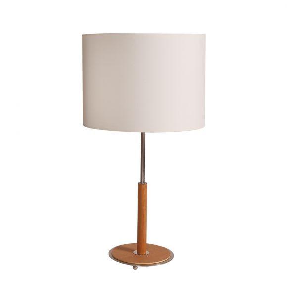Tischleuchte mit Stofflampenschirm und Holzfuß Nussbaum