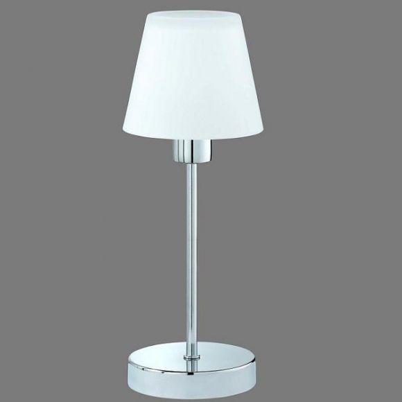LHG Tischleuchte mit Touchdimmer in Chrom, Alabaster-Glas weiß