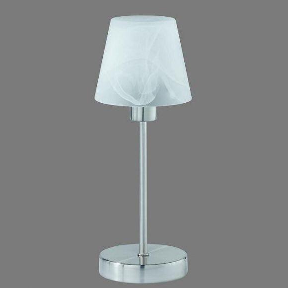 Tischleuchte mit Touchdimmer in Nickel matt, Alabaster-Glas weiß
