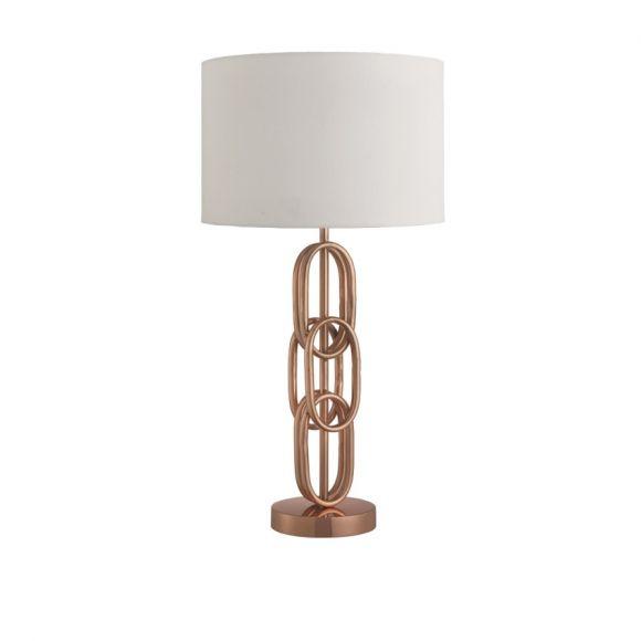 Tischleuchte mit modernem Fuß und Stofflampenschirm, 3 Farben
