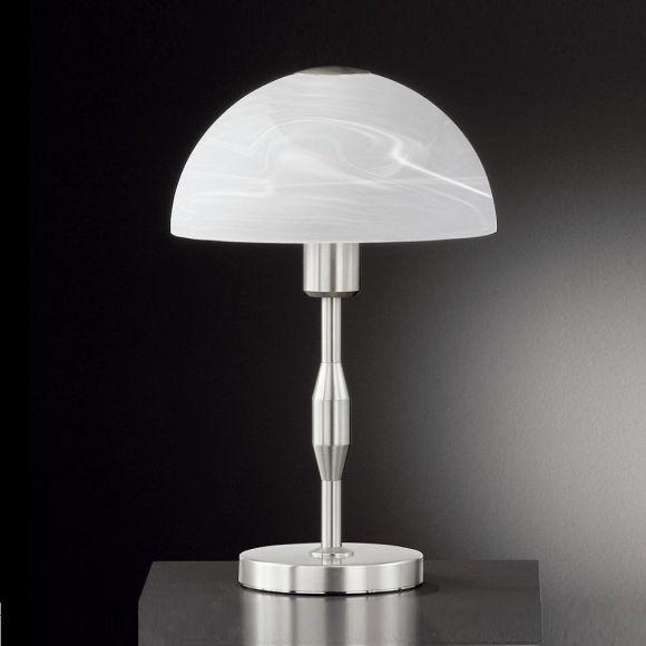 Tischleuchte in Nickel-matt mit Alabasterglas - Höhe 40 cm