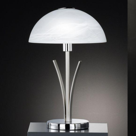 LHG Tischleuchte in Nickel-matt / Chrom mit Alabasterglas, Höhe 40cm - inklusive Leuchtmittel 1x E14 25W