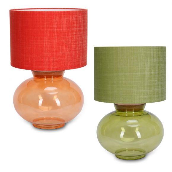 Tischleuchte Obertello mit Glasfuß und Stoffschirm - Grün oder Orange