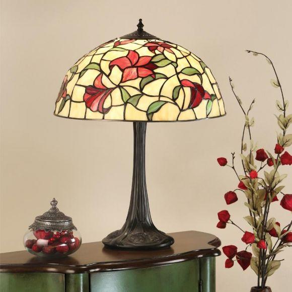 Tischleuchte Red Lilies im Tiffany Stil