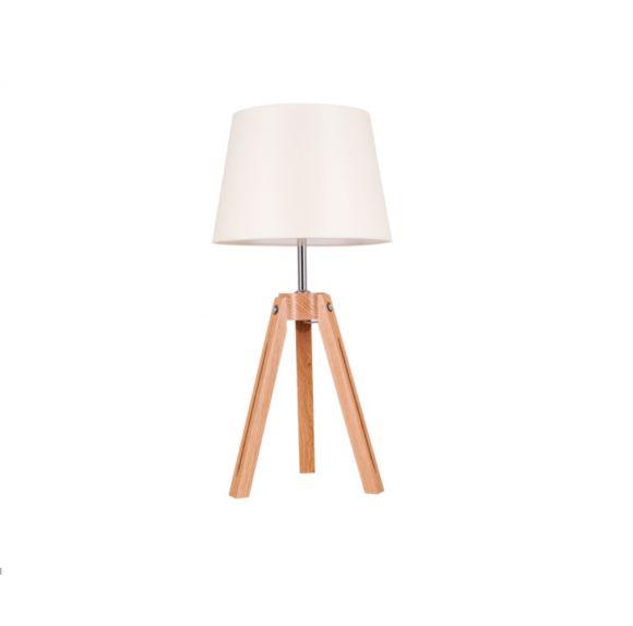 Dreibein Tischleuchte Tripod Ø 30cm, Holz Eiche natur, Textil Schirm