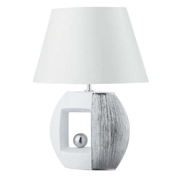 Tischleuchte Window mit Stofflampenschirm in Silber/Weiß