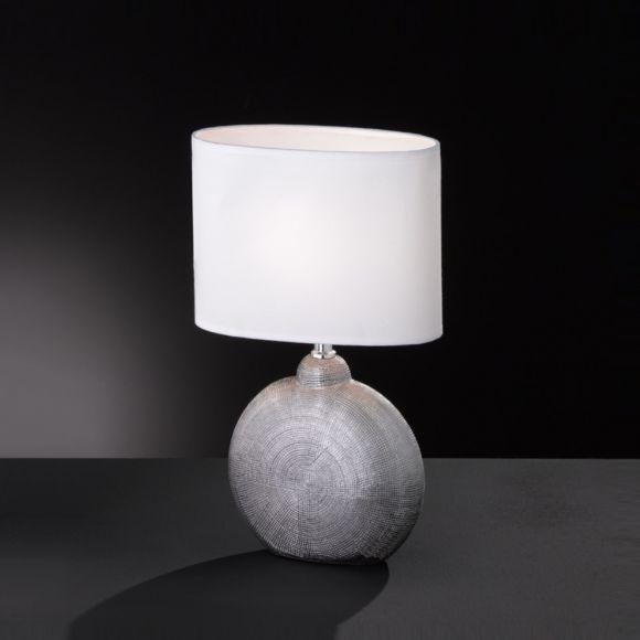 Tischleuchte, Chrom, oval, Strukturoberfläche, Textilschirm Stoffschirm weiß, zwei Größen