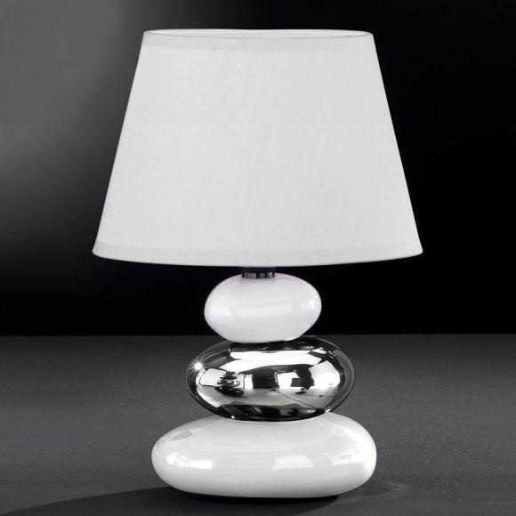 Tischleuchte- Keramik weiß/silber, Schirm altweiß