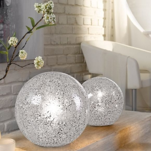 Tischleuchte, Kugelleuchten, Glas Craquele Design, Weiß, 2 Größen