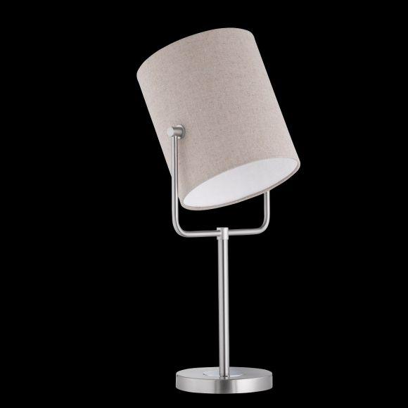 Tischleuchte, Lampenfuß Nickel-matt, schwenkbarer Stoffschirm, Leinenstruktur